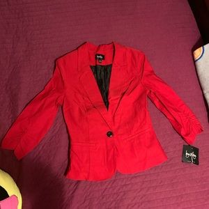 By & By red suit blazer jacket medium NWT